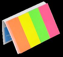 Закладки бум. с клейким слоем, 4 цв.х50л., 20х50мм (неон, ассорти)