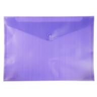 $Папка-конверт А4 на кнопке, полупрозрачная, фиолетовый