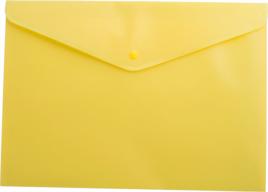 $Папка-конверт А4 на кнопке, полупрозрачная, желтая