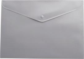 $Папка-конверт А4 на кнопке, полупрозрачная, серая