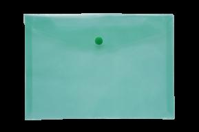 Папка-конверт А5 на кнопке, JOBMAX, прозрачная, зеленый