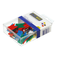 """Кнопки-гвоздики цветные """"флажки"""", 30 шт., пластиковый контейнер"""