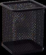$Подставка для ручек квадратная 80х80х95мм, металлическая, черная