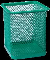 Подставка для ручек квадратная, металлическая, зеленая