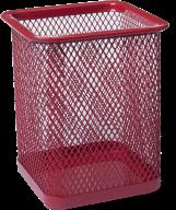Подставка для ручек квадратная, металлическая, красная