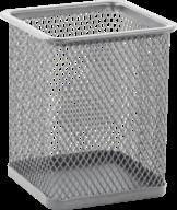 $Подставка для ручек квадратная 80х80х95мм, металлическая, серебро