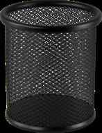 $Подставка для ручек круглая 80х80х97мм, металлическая, черная