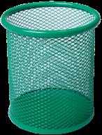 Подставка для ручек круглая, металлическая, зеленая
