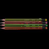 Карандаш графитовый NEON LINE, НВ, с ластиком, ассорти, с неоновой полоской, карт. коробка 12 шт.