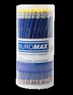 Карандаш графитовый, JOBMAX, НВ, с ластиком, пластиковый,  синий корпус, туба 100 шт.