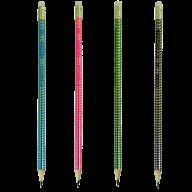 @Набор карандашей графитовых HB, SILVER LINE, ассорти, с ластиком, 4шт./блистер
