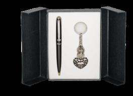 """Набор подарочный """"Corona"""": ручка шариковая + брелок, черный"""