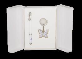 """Набор подарочный """"Butterfly"""": ручка шариковая + брелок, белый"""