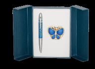 "@Набор подарочный ""Papillon"": ручка шариковая + крючок д/ сумки, синий"
