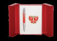 """@Набор подарочный """"Papillon"""": ручка шариковая + крючок д/ сумки, красный"""
