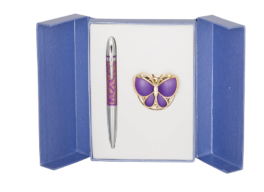 """@Набор подарочный """"Papillon"""": ручка шариковая + крючок д/ сумки, фиолетовый"""
