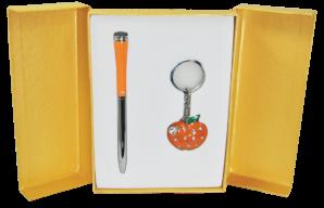 """@$Набор подарочный """"Apple"""": ручка шариковая + брелок, оранжевый"""