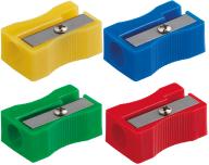 Точилка прямоугольная BLOCK, 1 отв., пластик. корпус, комплект 4 шт., блистер, ассорти