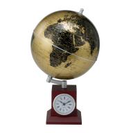 Глобус GOLD на деревянной подставке с часами