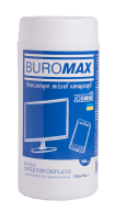 $/Салфетки для чистки экранов, мониторов и оптики, JOBMAX, влажные, 100 шт. в пласт.тубе