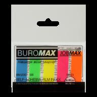^$Закладки пластиковые NEON, JOBMAX, с клейким слоем, 45x12 мм, 5 цв. по 20 л.