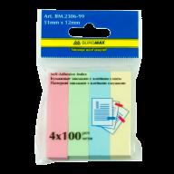 ^$Закладки бумажные PASTEL, с клейким слоем, 51x12 мм, 4 цв. по 100 л.