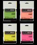 $Блок бумаги для записей NEON с клейким слоем, JOBMAX, 76х76 мм, 80 л., 4 цв.ассорти