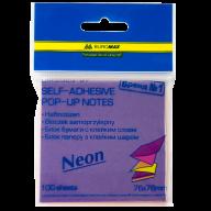 """#@$Блок бумаги для записей NEON, склейка """"гирлянда"""", 76х76 мм, 100 л., ассорти"""