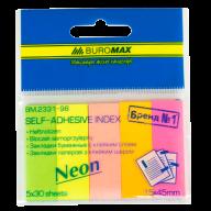 Закладки бумажные NEON, 45x15 мм, 5 цв. по 30 л.