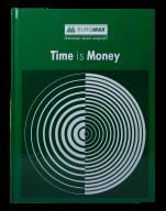 /Книга канцелярская TIME IS MONEY, А4, 96 л., клетка, офсет, твердая ламинированная обложка, зелена