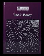 /Книга канцелярская TIME IS MONEY, А4, 96 л., клетка, офсет, твердая ламинированная обложка, фиолет
