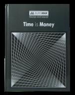 /Книга канцелярская TIME IS MONEY, А4, 96 л., клетка, офсет, твердая ламинированная обложка, серая