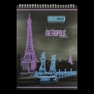 /Блокнот на пружине сверху METROPOLIS, А4, 48 л., клетка, картонная обложка, фиолетовый