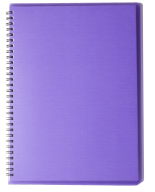 /ТетрадьдлязаписейRAINА4,80 л.,клетка,пластиковаяобложка,фиолетовая