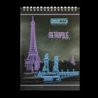 /Блокнот на пружине сверху METROPOLIS, А5, 48 л., клетка, картонная обложка, фиолетовый