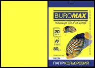 Бумага цветная NEON, желтая, 20 л., А4, 80 г/м²