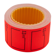 "Ценник 35x25 мм, ""ЦІНА"",  (240 шт, 6 м),  прямоугольный, внешняя намотка, красный"