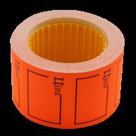 "Ценник 35x25 мм, ""ЦІНА"",  (240 шт, 6 м),  прямоугольный, внешняя намотка, оранжевый"