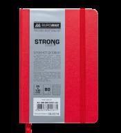 Блокнот деловой STRONG, L2U, 95x140 мм, 80л., клетка, красный, иск.кожа