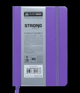 Блокнот деловой STRONG, L2U, 95x140 мм, 80л., клетка, фиолетовый, иск.кожа
