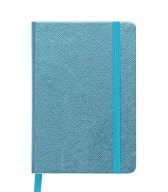 Блокнот деловой INGOT, 95x140 мм, 80 л., клетка, голубой, иск. Кожа