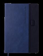 Блокнот деловой RECORD, А5, 96 л., нелинов., синий, иск.кожа