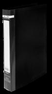 $Папка пласт., JOBMAX, 2 R-обр.кольца, А4, ширина торца 25 мм, черная