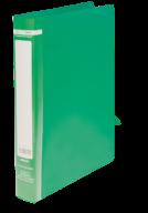 $Папка пласт., JOBMAX, 2 R-обр.кольца, А4, ширина торца 25 мм, зеленая