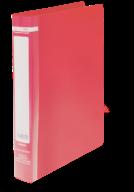 $Папка пласт., JOBMAX, 2 R-обр.кольца, А4, ширина торца 25 мм, красная