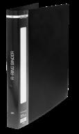 $Папка пластик., 2 R-обр.кольца, А4, ширина торца 25 мм, черная