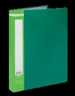 $Папка пластиковая с 60 файлами, JOBMAX, А4, зеленая