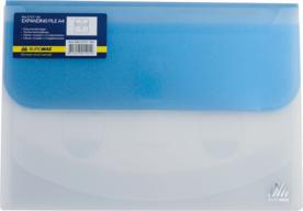$Папка-конверт TRAVEL, на липучке, А4, 4 отделения, матовый полупроз.пластик, асорти
