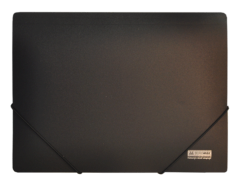 $Папка на резинках, JOBMAX, А4, непрозр.пластик, черная