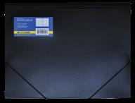 $Папка на резинках, А4, глянцевый непрозр. пластик, черная